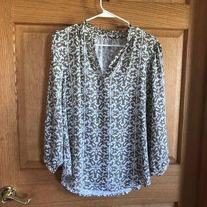 Loft, long sleeved, V neckline blouse